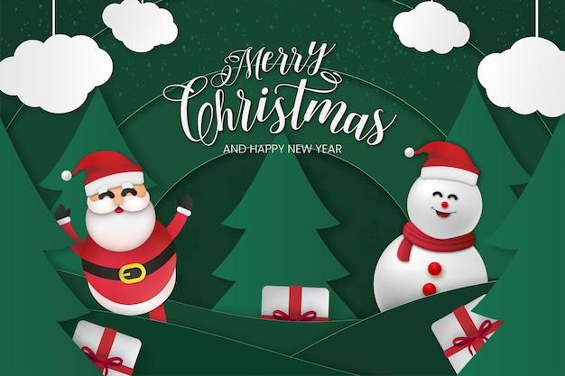 Tarjeta de feliz navidad y próspero año nuevo con efecto papercut vector gratuito