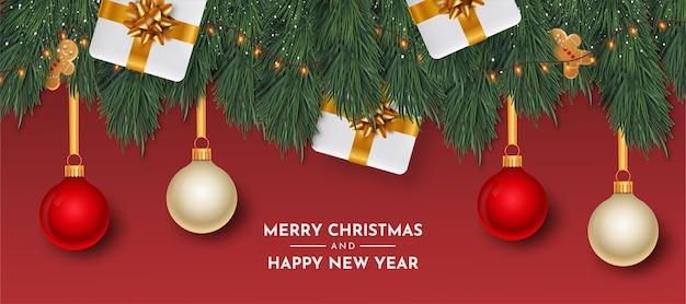 Tarjeta de feliz navidad y próspero año nuevo con objetos realistas vector gratuito