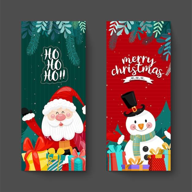 Tarjeta de feliz navidad con santa, muñeco de nieve y caja de regalo. vector gratuito