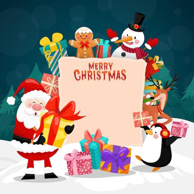 Tarjeta de feliz navidad con santa, muñeco de nieve, pingüino y caja de regalo. vector gratuito