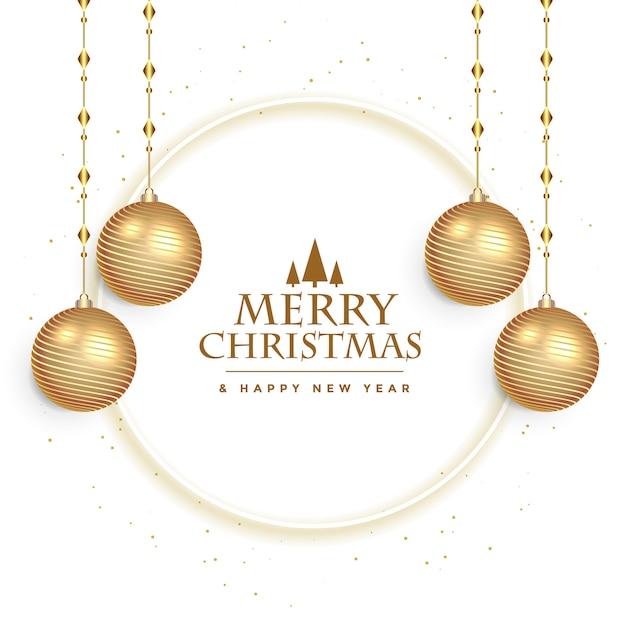 Tarjeta de festival de navidad blanca con decoración de bolas vector gratuito