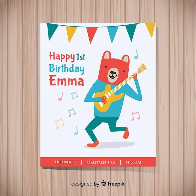 Tarjeta de fiesta de primer cumpleaños vector gratuito