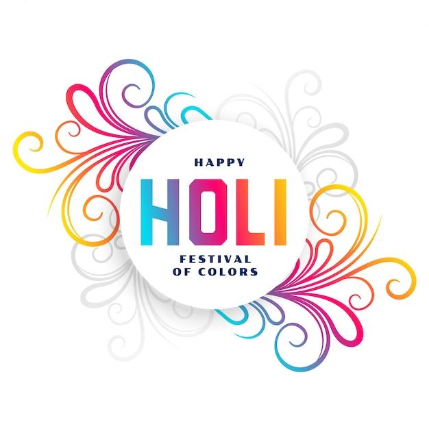 Tarjeta floral colorida del festival holi feliz vector gratuito
