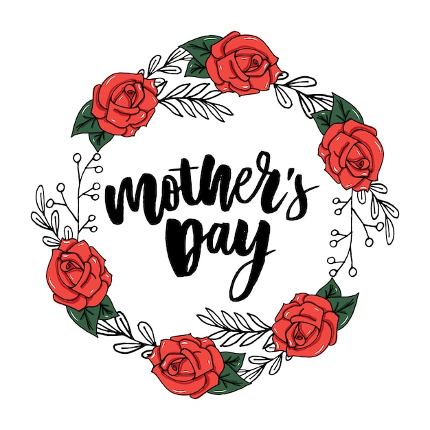 Tarjeta floral feliz día de la madre Vector Premium