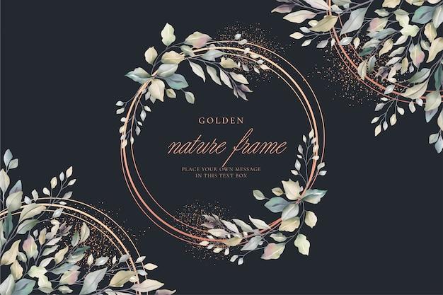 Tarjeta floral de lujo con marco dorado vector gratuito