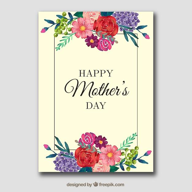 Tarjeta floral para el día de la madre Vector Gratis