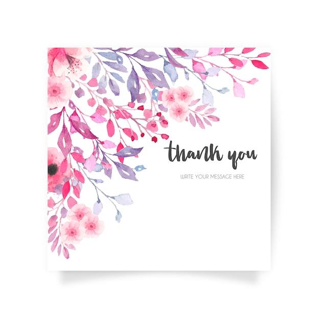Tarjeta floral preciosa con mensaje de agradecimiento vector gratuito