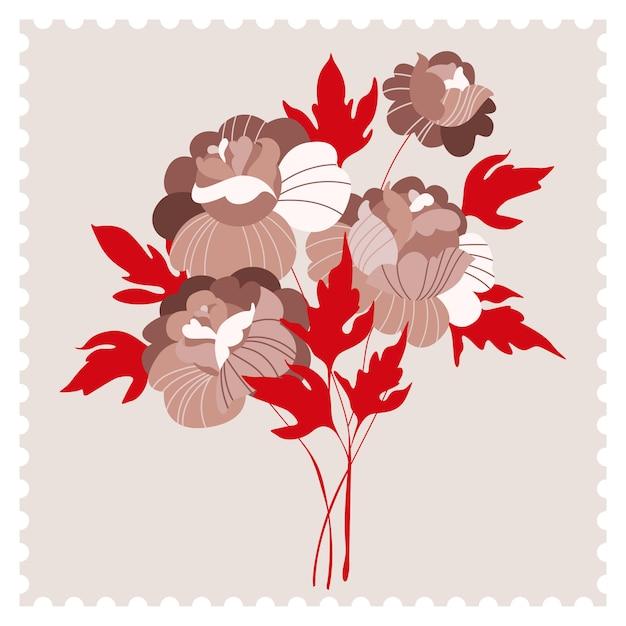 Tarjeta de flores de peonía beige moderno. flores de color beige y hojas rojas. tarjeta de felicitación de moda, invitación dibujada a mano en estilo de sello postal. sello postal cartel retro vintage Vector Premium