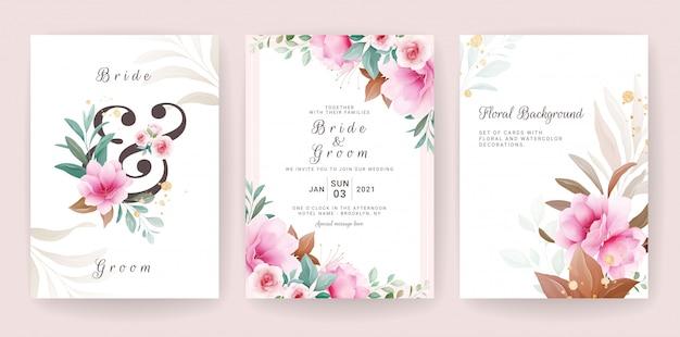 Tarjeta de fondo floral. plantilla de invitación de boda con flores y decoración de brillo para guardar la fecha, saludo, póster y diseño de portada Vector Premium