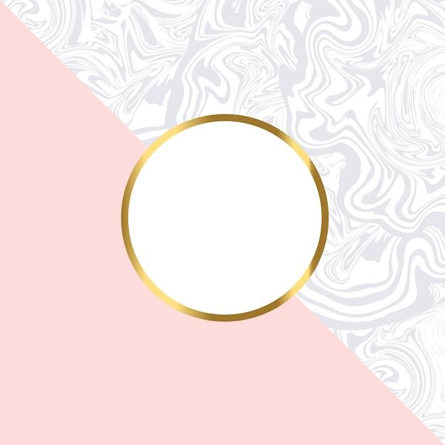 Tarjeta geométrica rosa y mármol con marco dorado. Vector Premium