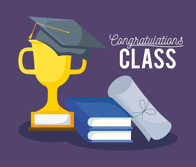 Tarjeta de graduación de celebración de clase con sombrero y trofeo Vector Premium