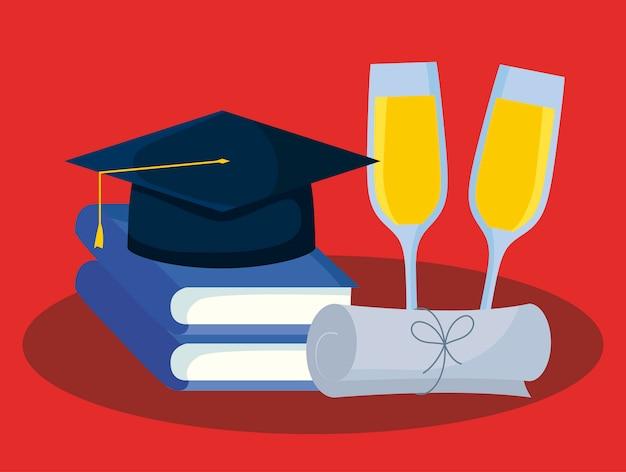 Tarjeta de graduación con libros y sombrero de graduación. Vector Premium