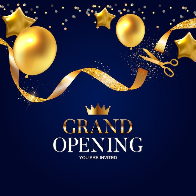 Tarjeta de gran inauguración con cinta dorada y tijeras Vector Premium