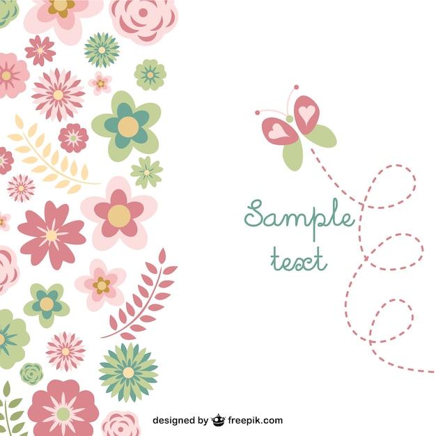 Tarjeta Gratuita Con Mariposa Y Flores Vector Gratis