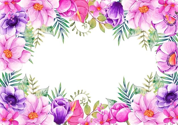 Tarjeta con hermosas flores acuarelas Vector Premium