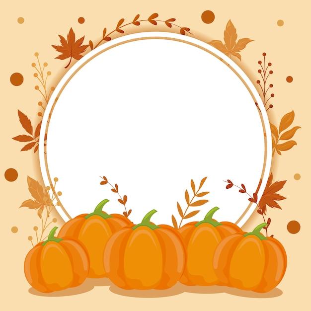 Tarjeta con hojas de otoño y calabazas Vector Premium