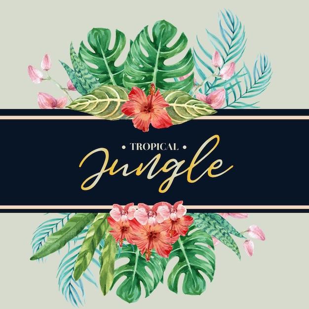 Tarjeta de hojas tropicales vector gratuito