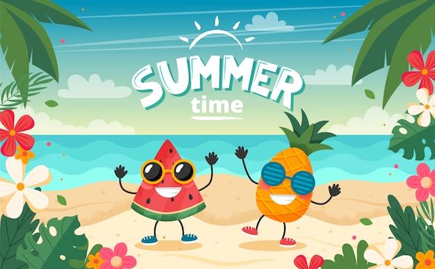 Tarjeta de horario de verano con carácter de frutas, paisaje de playa, letras y marco floral. Vector Premium