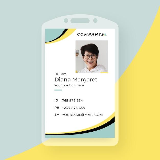 Tarjeta de identificación comercial con elementos minimalistas y foto. vector gratuito