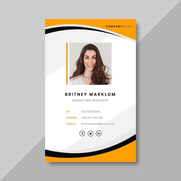 Tarjeta de identificación comercial con elementos minimalistas. vector gratuito