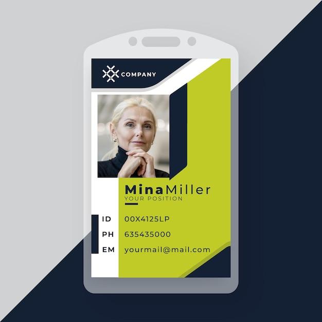 Tarjeta de identificación comercial con formas minimalistas y foto. vector gratuito
