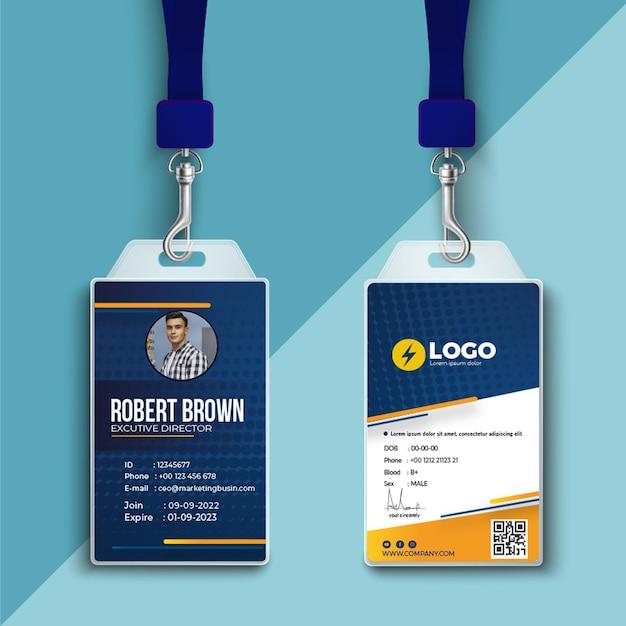 Tarjeta de identificación de electricista Vector Premium