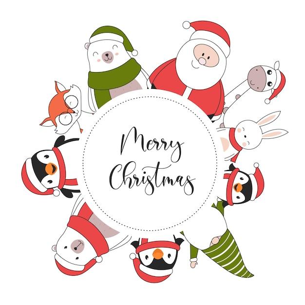Tarjeta de ilustración de feliz navidad con pingüino conejo jirafa santa claus oso polar zorro y elfo vector gratuito