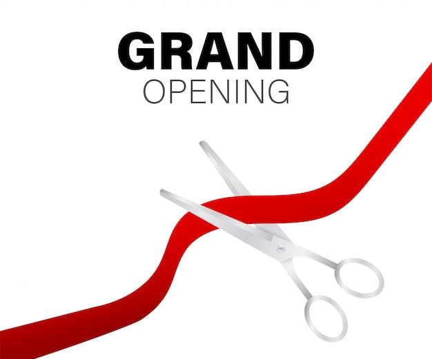Tarjeta de inauguración con cinta roja y tijeras plateadas Vector Premium