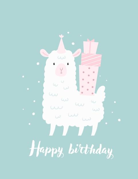 Tarjeta infantil de feliz cumpleaños, plantilla de póster con lindas ovejas de cordero y cajas de regalo Vector Premium