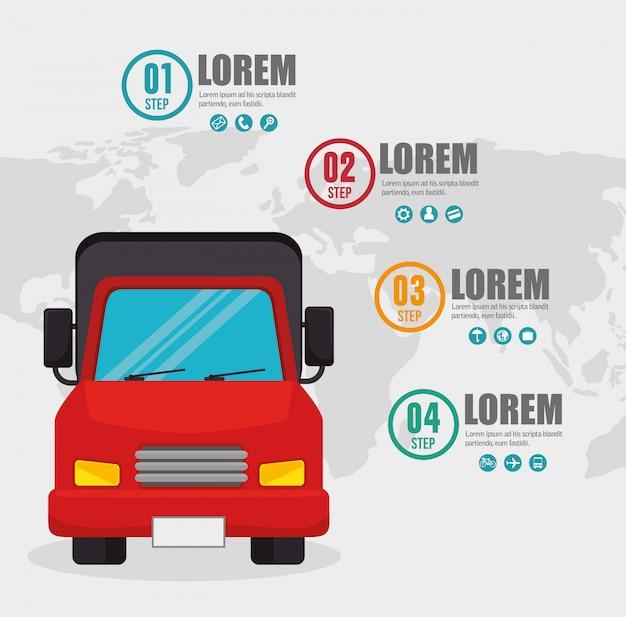Tarjeta de infografía de transporte de camiones vector gratuito