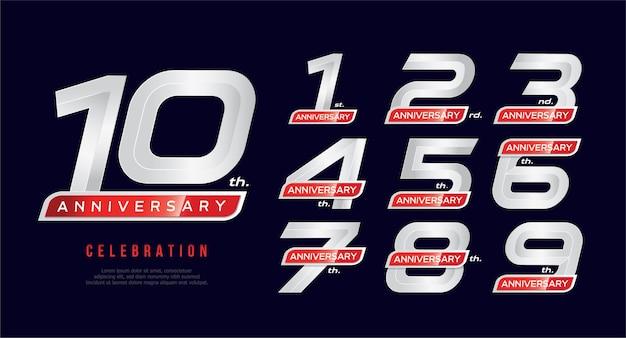 Tarjeta de invitación de aniversario de 1 a 10 años, plantilla de celebración Vector Premium