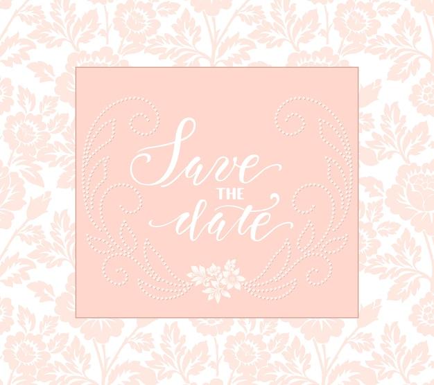 Tarjeta de invitación y anuncio de boda con arte floral. vector gratuito
