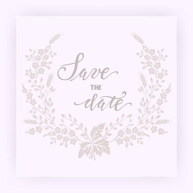Tarjeta de invitación y anuncio de boda con flores. vector gratuito