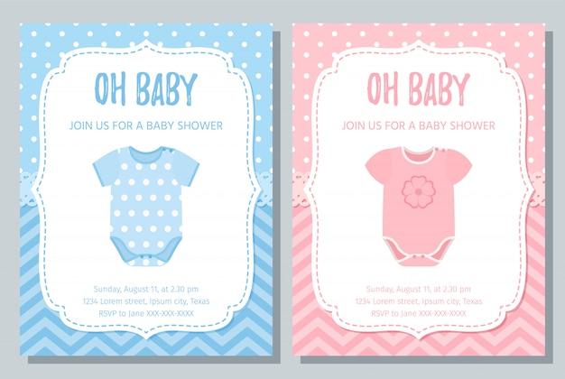 Tarjeta de invitación de baby shower. Vector Premium