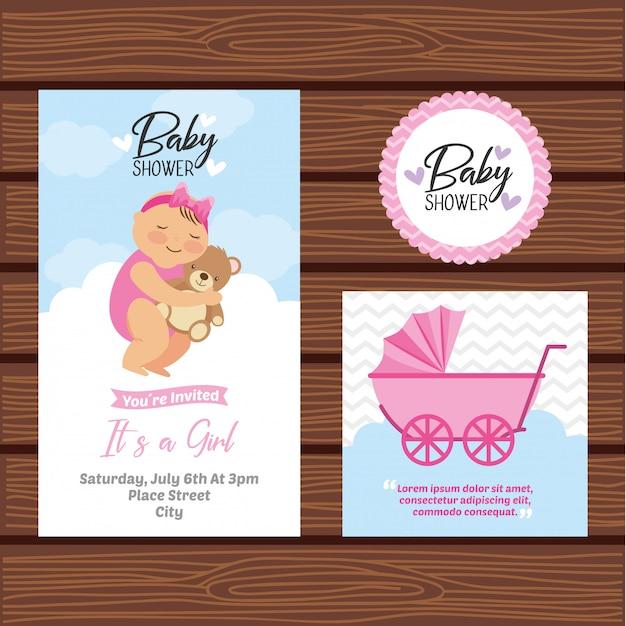 Tarjeta De Invitación De Baby Shower Vector Premium