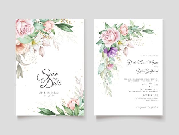 Tarjeta de invitación de boda con acuarela floral verde suave vector gratuito