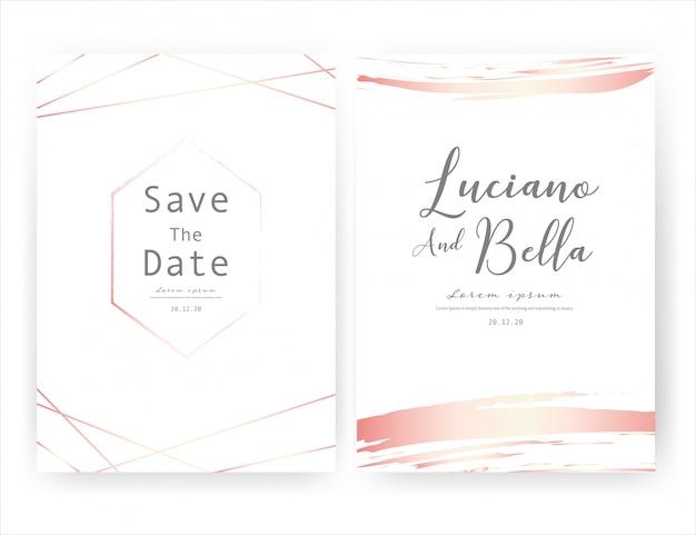 Tarjeta de invitación de boda, ahorre la fecha tarjeta de boda. Vector Premium