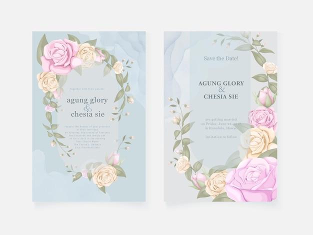 Tarjeta de invitación de boda azul con rosas y hojas Vector Premium
