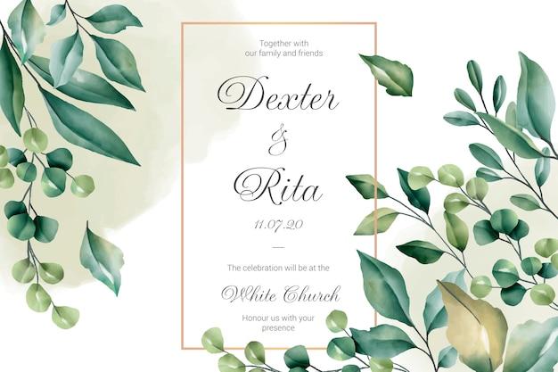 Tarjeta de invitación de boda con bordes florales vector gratuito