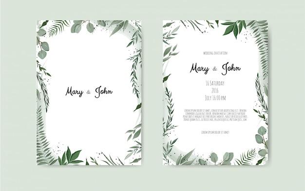 Tarjeta de invitación de boda botánica Vector Premium