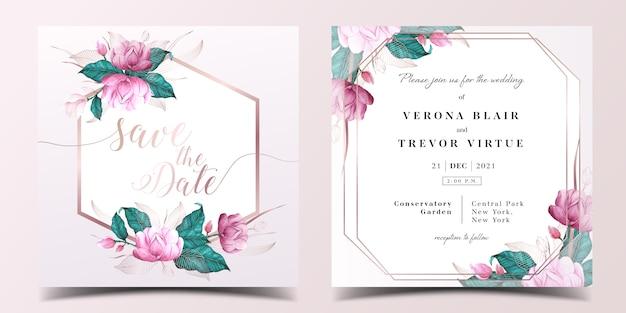 Tarjeta de invitación de boda cuadrada vector gratuito