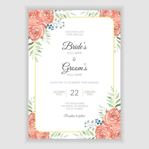 Tarjeta de invitación de boda con decoración floral acuarela Vector Premium