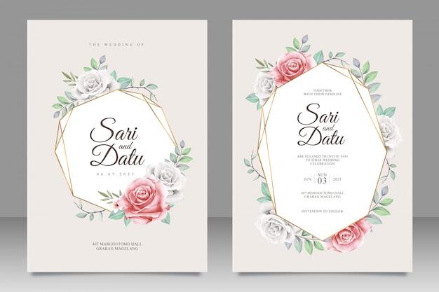Tarjeta de invitación de boda dorada con aquarel floral Vector Premium