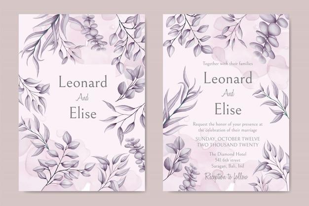 Tarjeta de invitación de boda elegante con cubierta floral Vector Premium