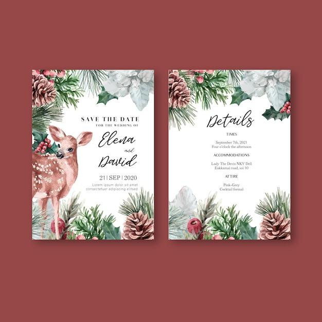 Tarjeta de invitación de boda elegante flor floral de invierno para decoración vintage hermoso vector gratuito