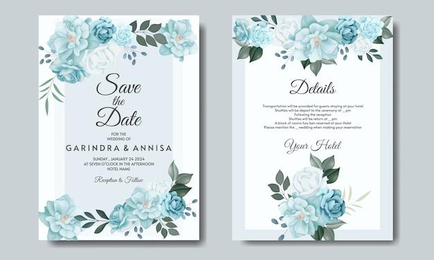 Tarjeta de invitación de boda elegante con hermosa plantilla floral y hojas Vector Premium