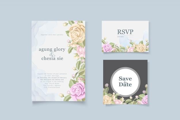 Tarjeta de invitación de boda elegante simple con rosas y hojas Vector Premium