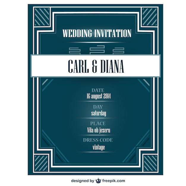 Tarjeta de invitación de la boda estilo art déco vector gratuito