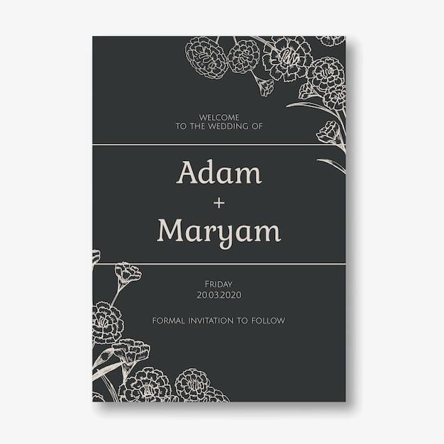 Tarjeta de invitación de boda estilo de diseño clásico simple con fondo floral clavel flor ornamento decoración plantilla Vector Premium