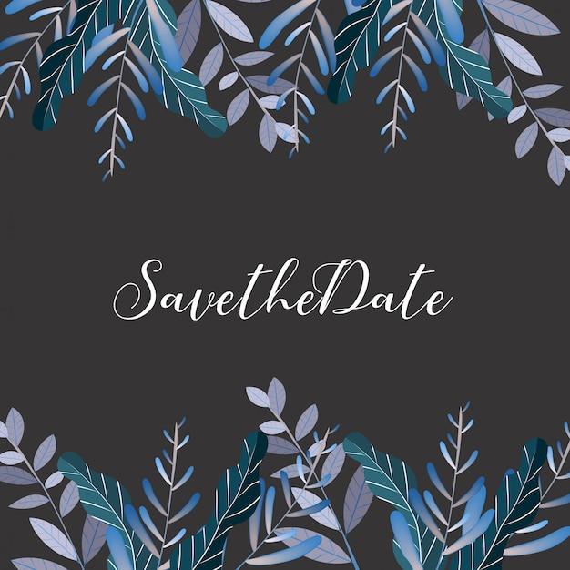 Tarjeta de invitación de boda flor, guardar la tarjeta de fecha, tarjeta de felicitación Vector Premium